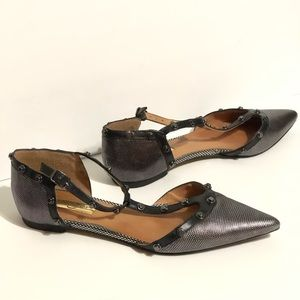 Halogen Gray Metallic Pointy Flats Pewter Studs